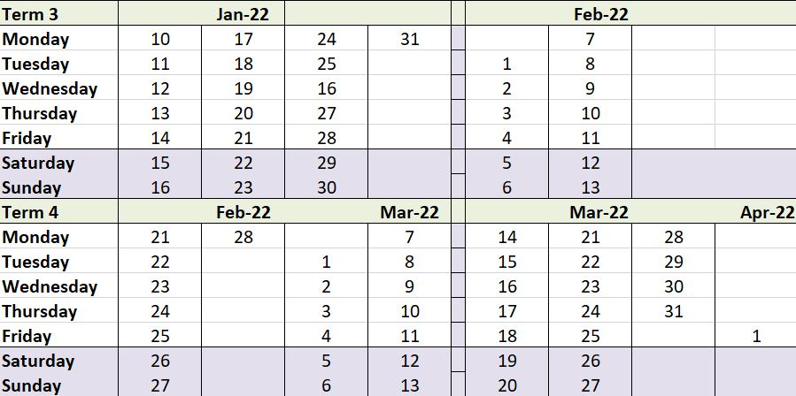 Term dates 3&4
