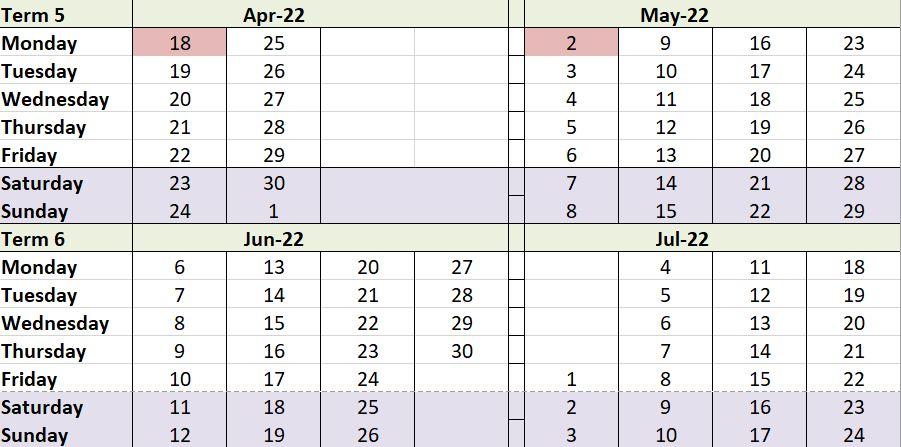 Term dates 5&6